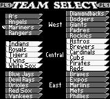 All-Star Baseball 99 Game Boy Team Select.