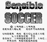 Sensible Soccer: European Champions Game Boy Title Screen.