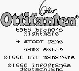 Ottos Ottifanten: Baby Brunos Alptraum Game Boy Title Screen.
