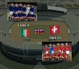 "Tactical Soccer SNES Match introduction. Italy vs ""Swiss cheese""."