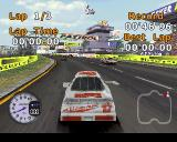 Stock Car Racer PlayStation The race begins and the other cars tear off into the distance. Everything is a bit blocky and low res when examined like this but in-game when everything is moving quickly it's not so bad