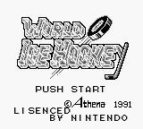 World Ice Hockey Game Boy Title Screen.