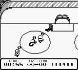 World Ice Hockey Game Boy Keeper saves shot.