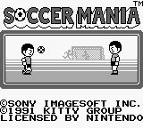 Soccer Mania Game Boy Title Screen.