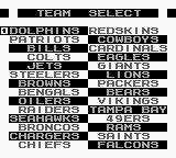 NFL Football Game Boy Team select.