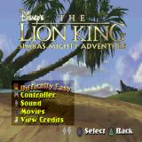 Disney's the Lion King: Simba's Mighty Adventure PlayStation The game's main menu. The background stays the same for most of the screens that are not in the game itself