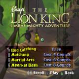 Disney's the Lion King: Simba's Mighty Adventure PlayStation There are mini games that can be played at Rafiki's house. These too have to be unlocked by the player