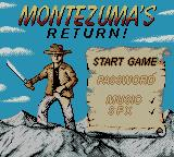 Montezuma's Return! Game Boy Color Title Screen.