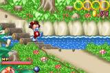 Kid Klown in Crazy Chase Game Boy Advance Crossing a bridge.