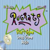 Rugrats: Search for Reptar PlayStation The game's main menu. The background changes frequently and various Rugrats pop up in the corners