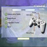 FIFA 2001: Major League Soccer PlayStation Playing a friendly match. The load screen shows the controller configuration. The same setup is used for leagues and tournaments