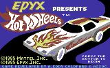 Hot Wheels Commodore 64 Title Screen.