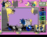 Jigsaw Madness PlayStation This is a multiplayer game. Each player grabs pieces and positions them in the frame. The blue circle indicates they have been correctly placed.