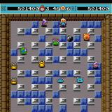 Bomberman Sharp X68000 Seventh round, the yellow grinning enemy is Ojin, he only appears in this game and Bomberman II