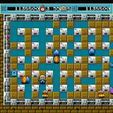 Bomberman Sharp X68000 Last stage, the spinning coin-like Pontan is the most dangerous (and annoying) enemy in the game as they move quickly, pass through soft blocks and pursue Bomberman