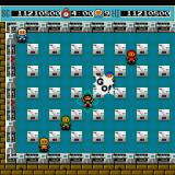 Bomberman Sharp X68000 Last boss battle, first you need to take care of the red, blue, green and yellow Bombermen, they turn into fireballs periodically, shooting a projectile in four directions as they transform