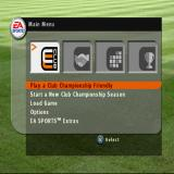 FIFA Soccer 2003 PlayStation The game's main menu. The EA Sports Extra's option just displays the credits and shows an animated advertisement for other EA Sports products