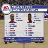 NBA Live 2002 PlayStation An Exhibition match is about to start. The team's are selected and the gamer can tweak the players in the team