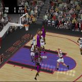 NBA Live 2002 PlayStation A shot is taken and blocked. The active player's name is displayed and they are indicated by a circle around their feet