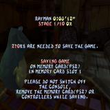 Rayman 2: The Great Escape PlayStation 2 The game save screen