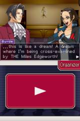 Ace Attorney Investigations: Miles Edgeworth Nintendo DS Looks like Ms. Maggey Byrde is enjoying the experience.