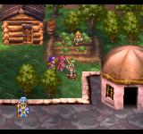 Dragon Quest IV: Michibikareshi Monotachi PlayStation This town has it all: peasants working in the field, priests standing on roofs for some reason...