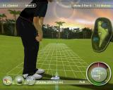 International Golf Pro PlayStation 2 On the green. The grid shows the slope of the ground. The left/right controls are used to aim the shot to compensate for any slope
