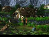 Final Fantasy VIII PlayStation Lush green village with an animated frog sitting on a stone. There is immense contrast between the different locations