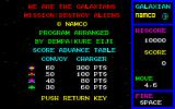 Galaxian PC-88 Copyright screen and mission.