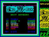 Bomb Jack ZX Spectrum High score table