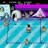 Super Dodge Ball Sharp X68000 That angel is (was) one of my players who got knocked out. By the way, those penguins in the background look like Pengo