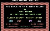 The Exploits of Fingers Malone Commodore 16, Plus/4 Title Screen.