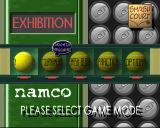 Anna Kournikova's Smash Court Tennis PlayStation The game's menu. The options are on balls that spin when selected. The one that's currently selected, therefore spinning, therefore unreadable says 'Exhibition'.