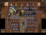 Lunar: Silver Star Story Complete PlayStation Jessica's stats and equipment superimposed on a generic house