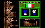 World Class Soccer Amstrad CPC Select your team.