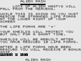 Alien Rain & Outrider ZX81 Instructions (Alien Rain)