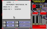 Quadralien Atari ST Menu for starting a level: select droids and chambers