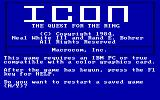 ICON: Quest for the Ring DOS Intro Screen