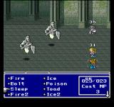 Final Fantasy Anthology PlayStation Final Fantasy V: Fighting fearsome-looking foes. One of my characters is stoned; another is a Black Mage; the third is in the middle of a jump and therefore not visible...