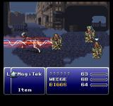 Final Fantasy Anthology PlayStation Final Fantasy VI: Early battle in Narshe - beautiful backgrounds and effects