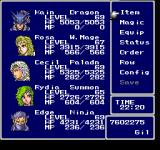 Final Fantasy Chronicles PlayStation Final Fantasy IV: General menu, fairly high-level full party