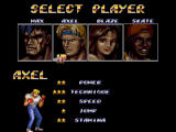 Streets of Rage 2 Windows Select player