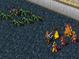 Suikoden PlayStation A magician with a pack of monster wolves attacks