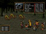Suikoden II PlayStation Spiders ambush a mid-game, fairly regular party in a forest