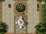 Suikoden II PlayStation Good weather, beautiful square, a woman sitting alone at a table, sipping a drink... what will you do, hero?..