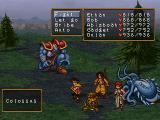 Suikoden II PlayStation Fighting a fearsome-looking enemy with a rather weird party! Check out all those creatures I have recruited...