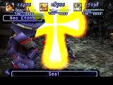 Xenogears PlayStation Enemy gear casts a suspiciously religious-looking symbol on my newly acquired partner - Maria