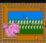 The New Zealand Story Sharp X68000 First boss: a pink frozen whale