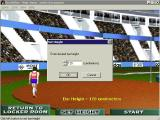 Bruce Jenner's World Class Decathlon Windows The high jump. In practice the player sets the height of the bar. In competition it increases and the player chooses whether to Pass or compete at that level