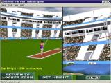 Bruce Jenner's World Class Decathlon Windows The pole vault starts with a split screen that disappears when the event begins. The player clicks at the right time to plant their pole and at the right time to release and vault over the bar